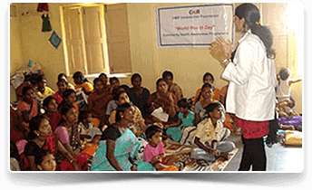 Image of a volunteer teaching rural women on hygine and sanitation